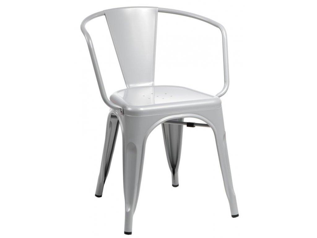 Šedá kovová jídelní židle Tolix 45 s područkami