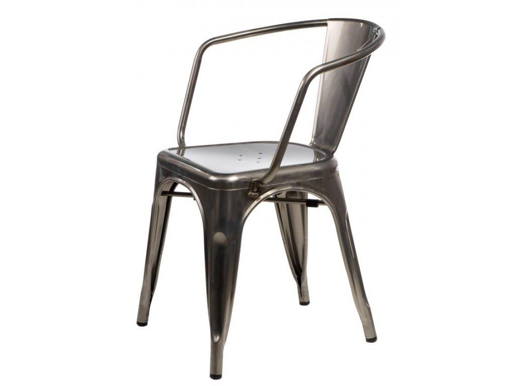 Stříbrná metalická kovová jídelní židle Tolix s područkami