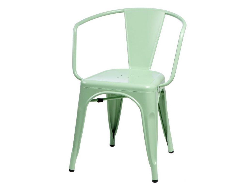 Jídelní židle Tolix 45 s područkami, zelená