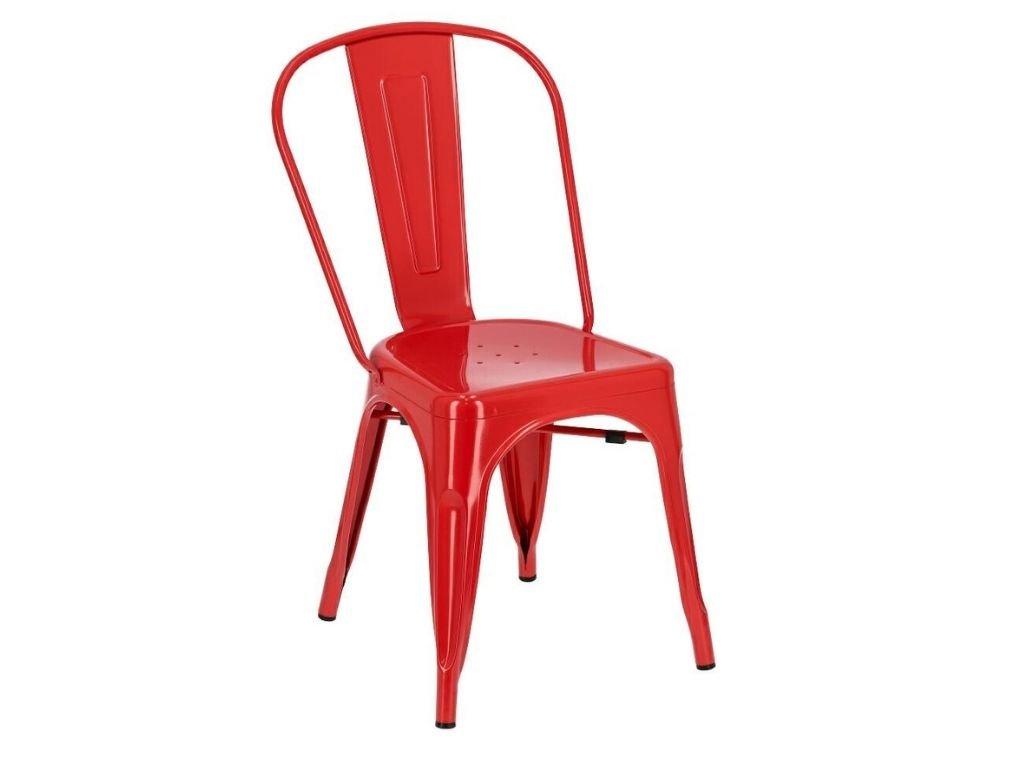 Červená kovová jídelní židle Tolix