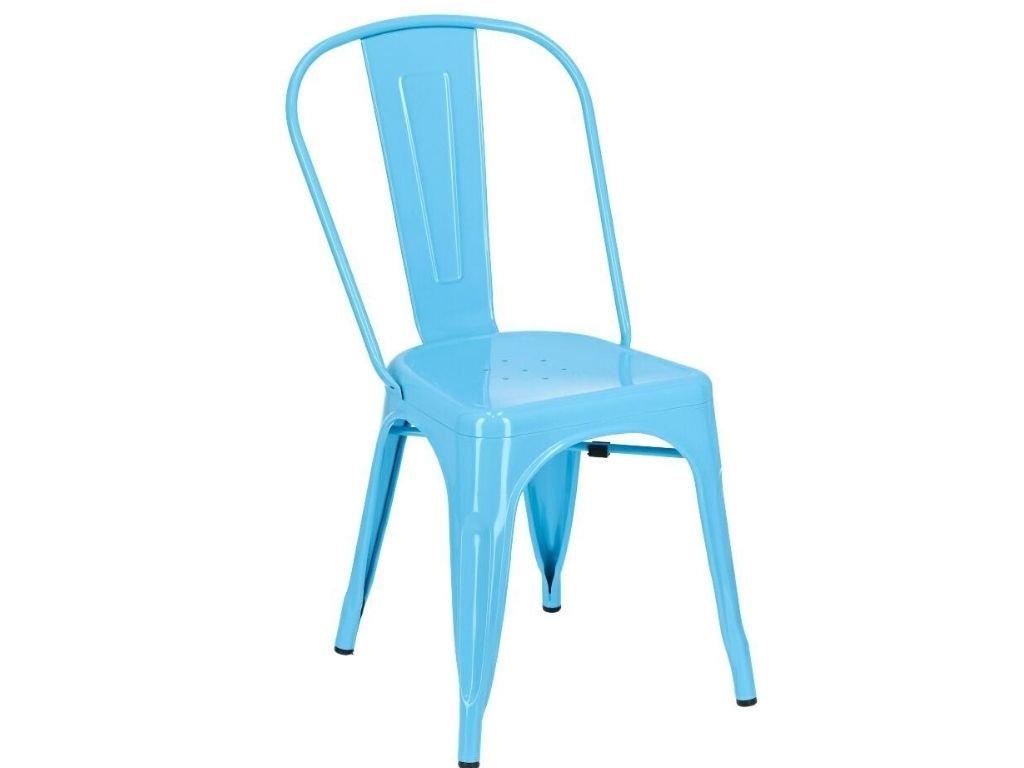 Modrá kovová jídelní židle Tolix