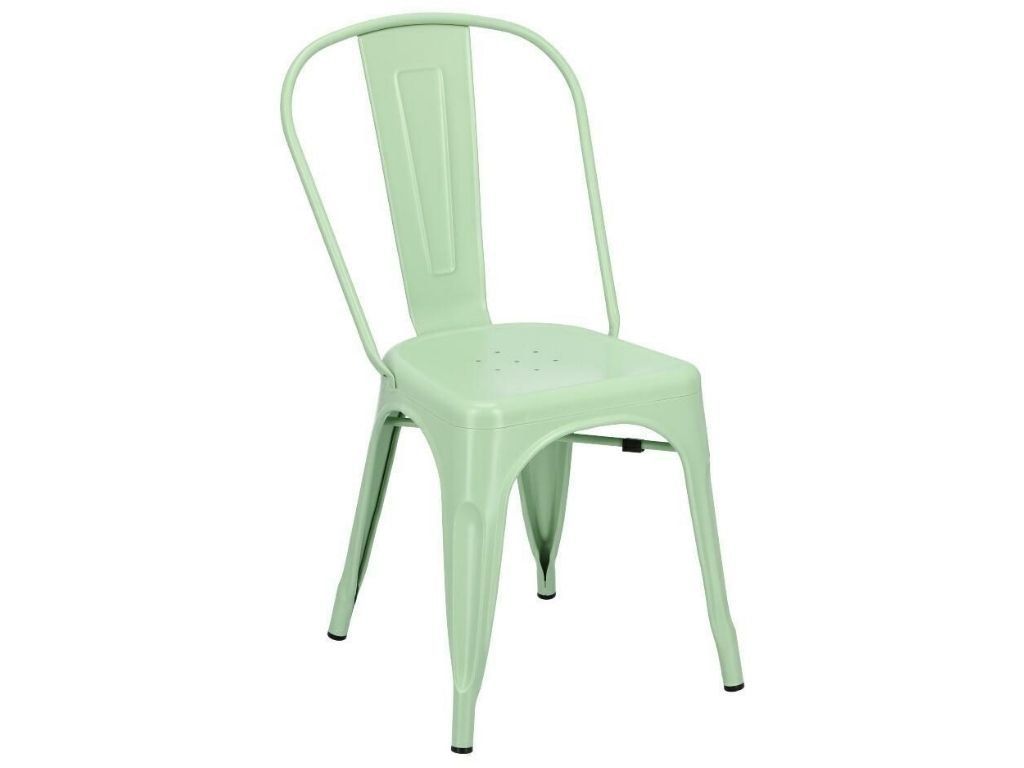 Zelená kovová jídelní židle Tolix
