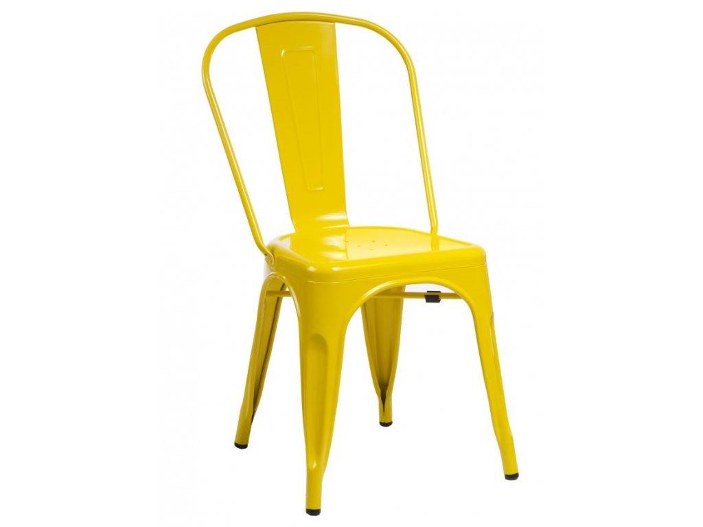 Žlutá kovová jídelní židle Tolix