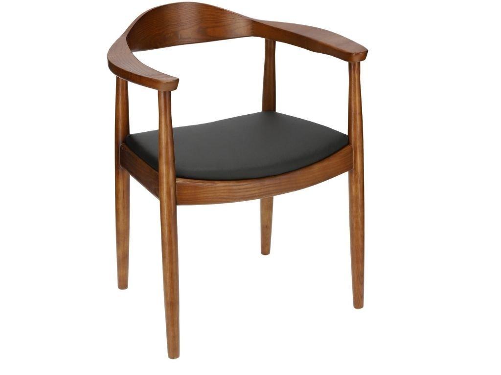 Černá jasanová jídelní židle s koženým sedákem
