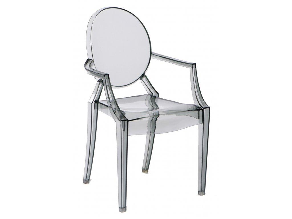 Šedá transparentní plastová jídelní židle Ghost s područkami