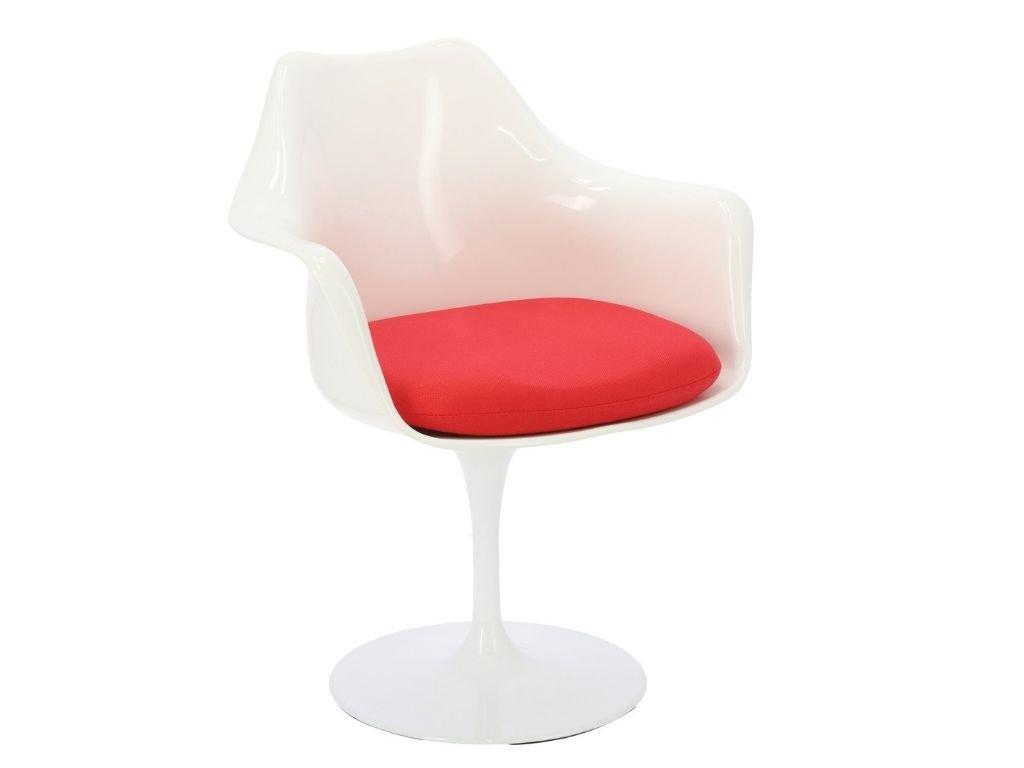 Bílá plastová jídelní židle Tulip s červeným látkovým sedákem