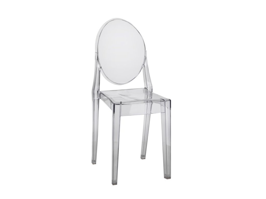 Světle šedá transparentní plastová jídelní židle Ghost