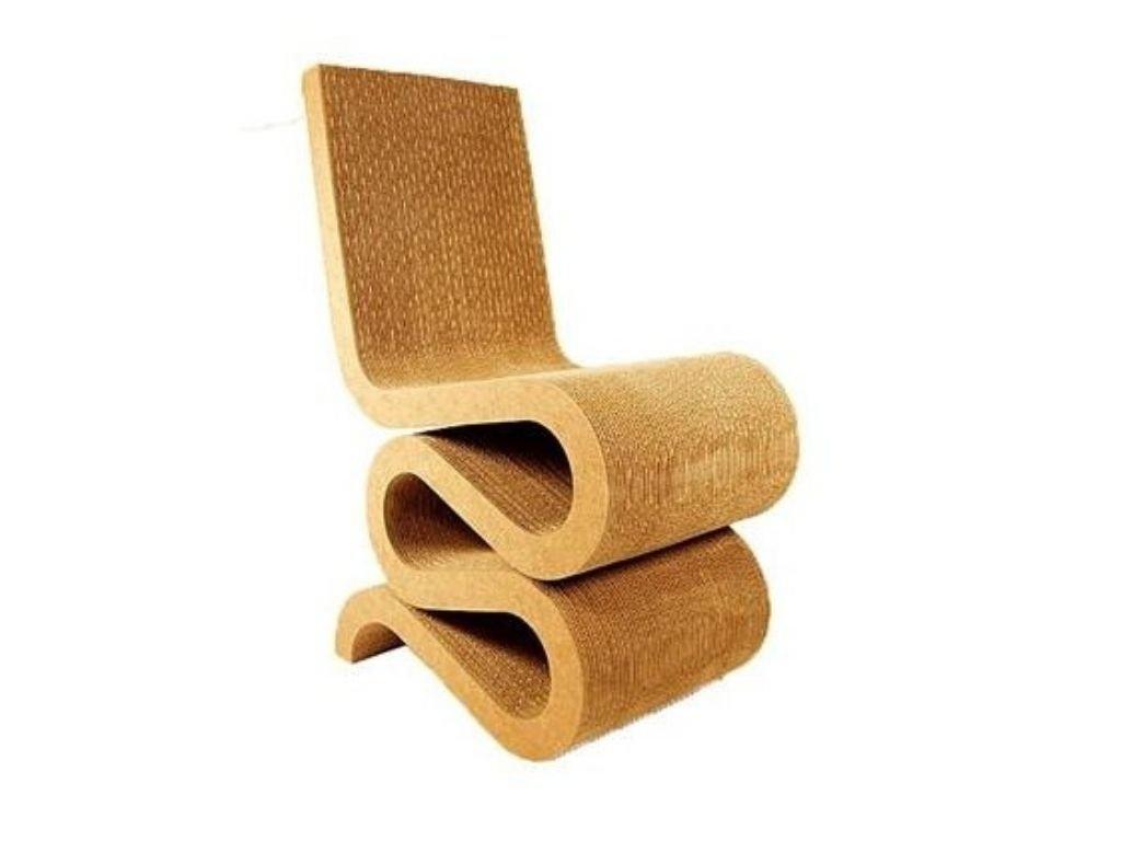 Hořčicově žlutá kartonová jídelní židle Wiggle
