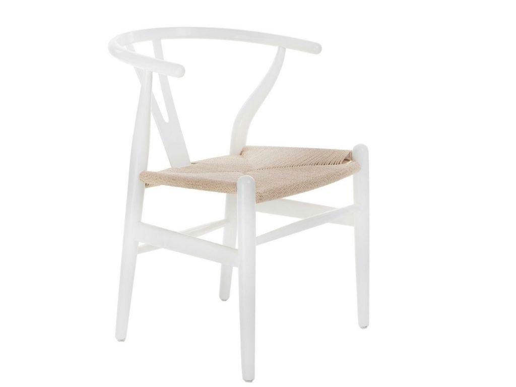 Bílá dřevěná jídelní židle Bounce s béžovým výpletem