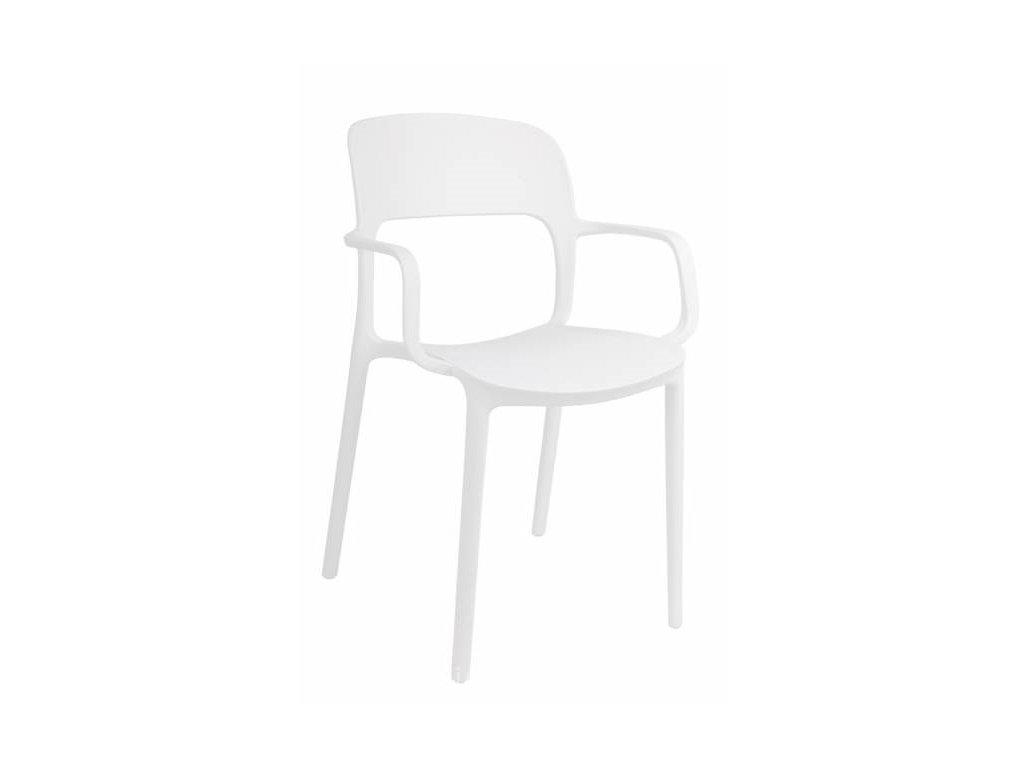 Bílá plastová jídelní židle Lexi s područkami