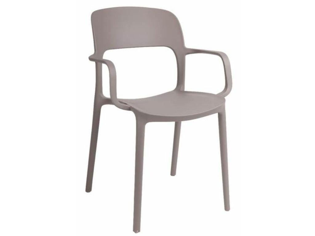 Béžová plastová jídelní židle Lexi s područkami