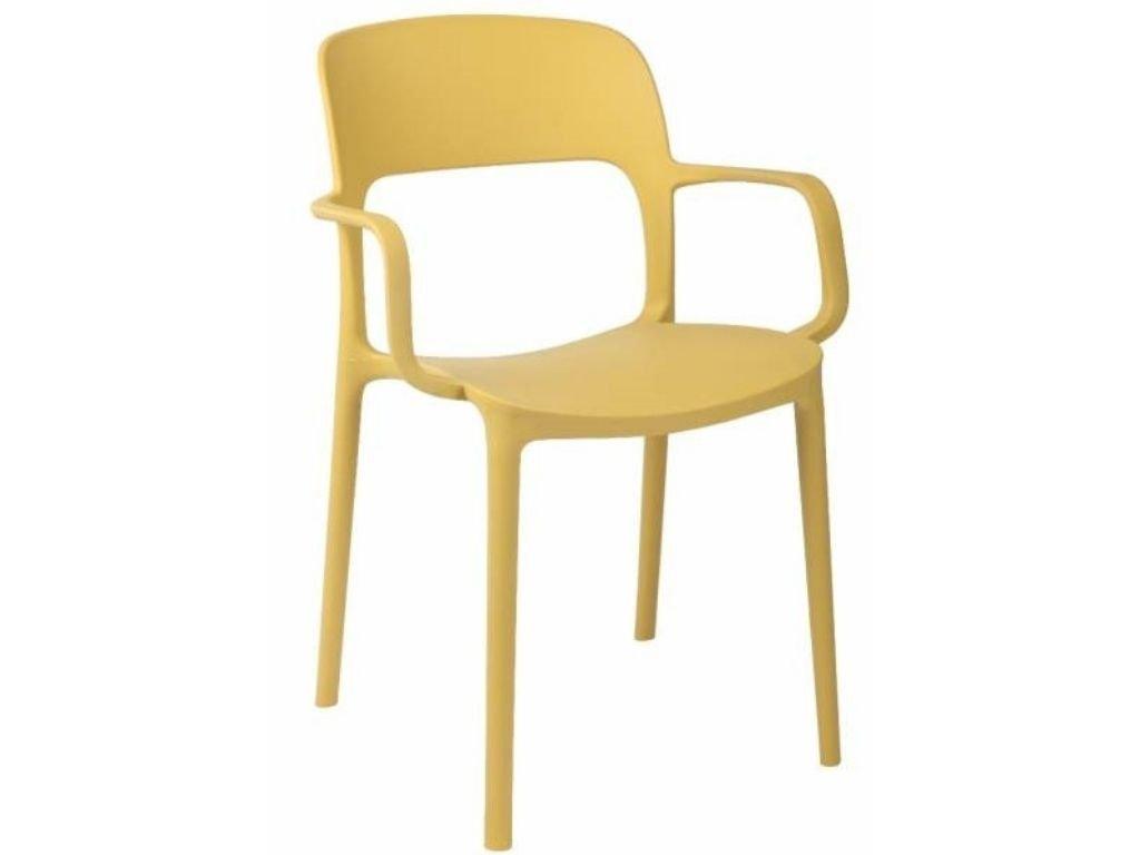 Žlutá plastová jídelní židle Lexi s područkami
