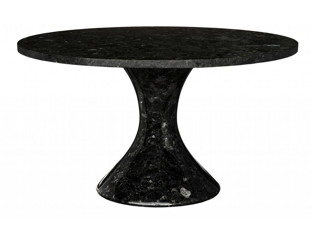Černý kamenný konferenční stolek RGE Black Crystal 85 cm