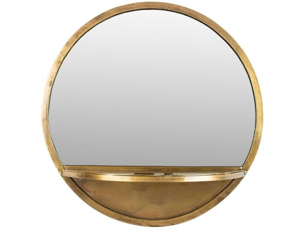 Mosazné kovové závěsné zrcadlo WLL Feyza 41 cm