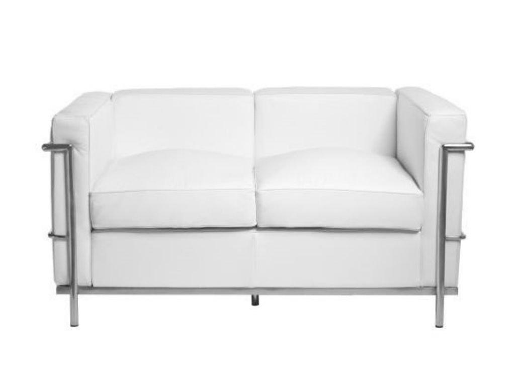 Bílá kožená dvoumístná pohovka LC2 130 cm