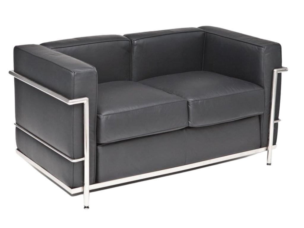 Černá kožená dvoumístná pohovka LC2 130 cm