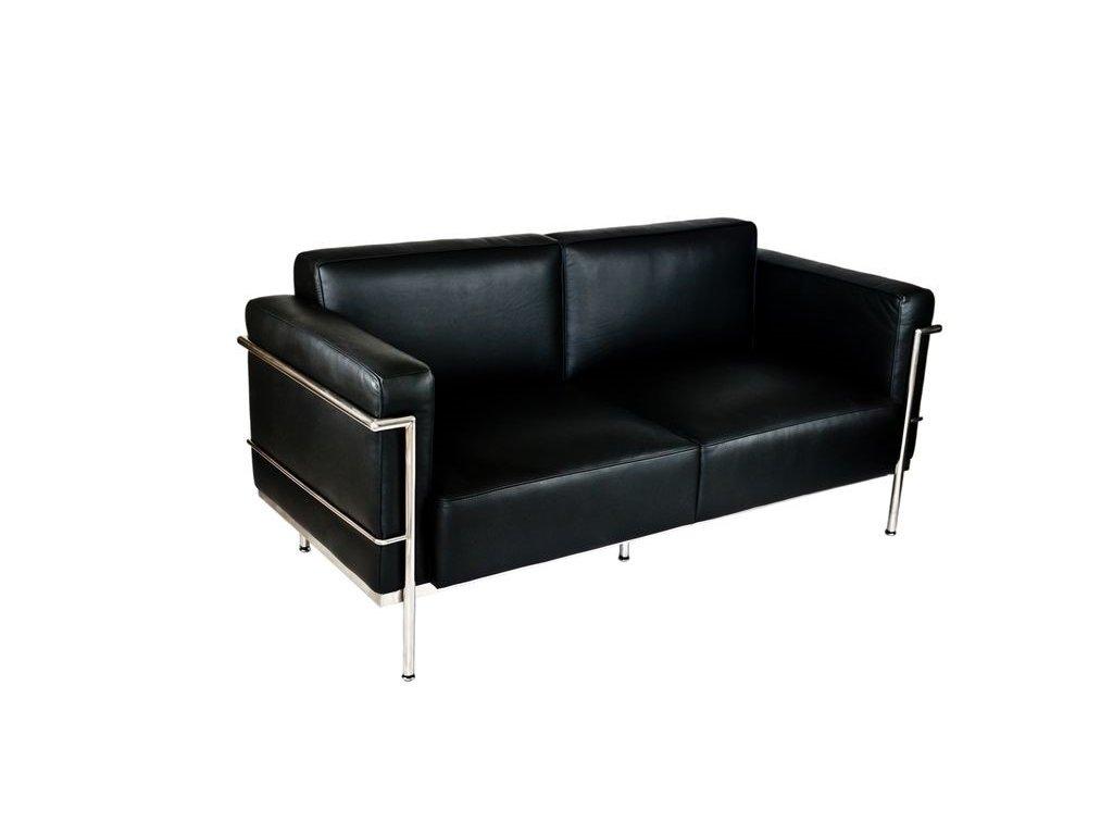 Černá kožená pohovka LC2 soft s leštěným nerezovým rámem