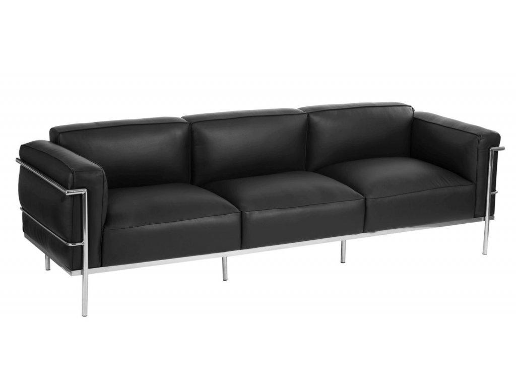 Černá kožená třímístná pohovka LC3 soft 240 cm