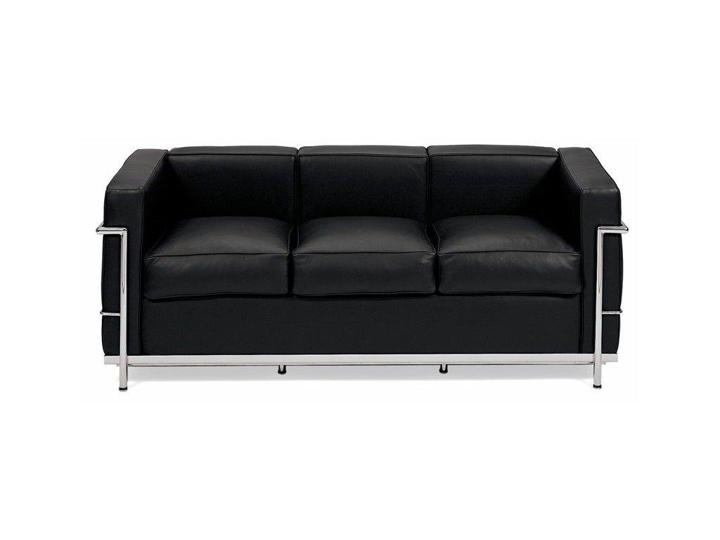 Černá kožená třímístná pohovka LC3 180 cm
