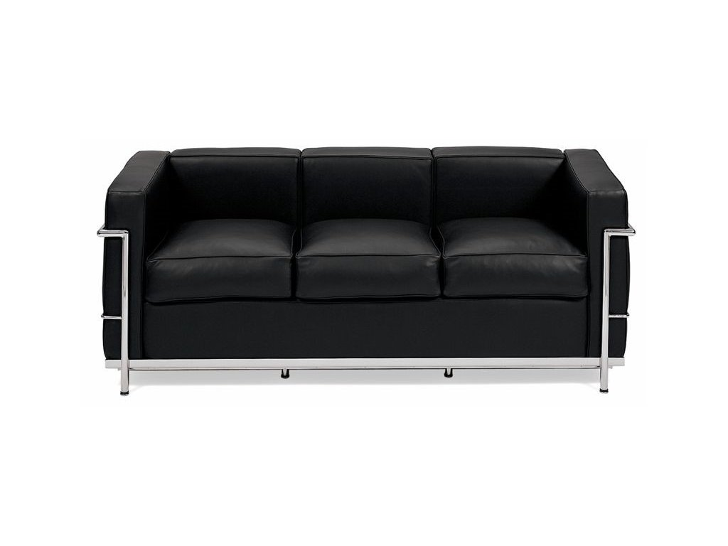 Designová černá kožená pohovka LC3 s ocelovým rámem