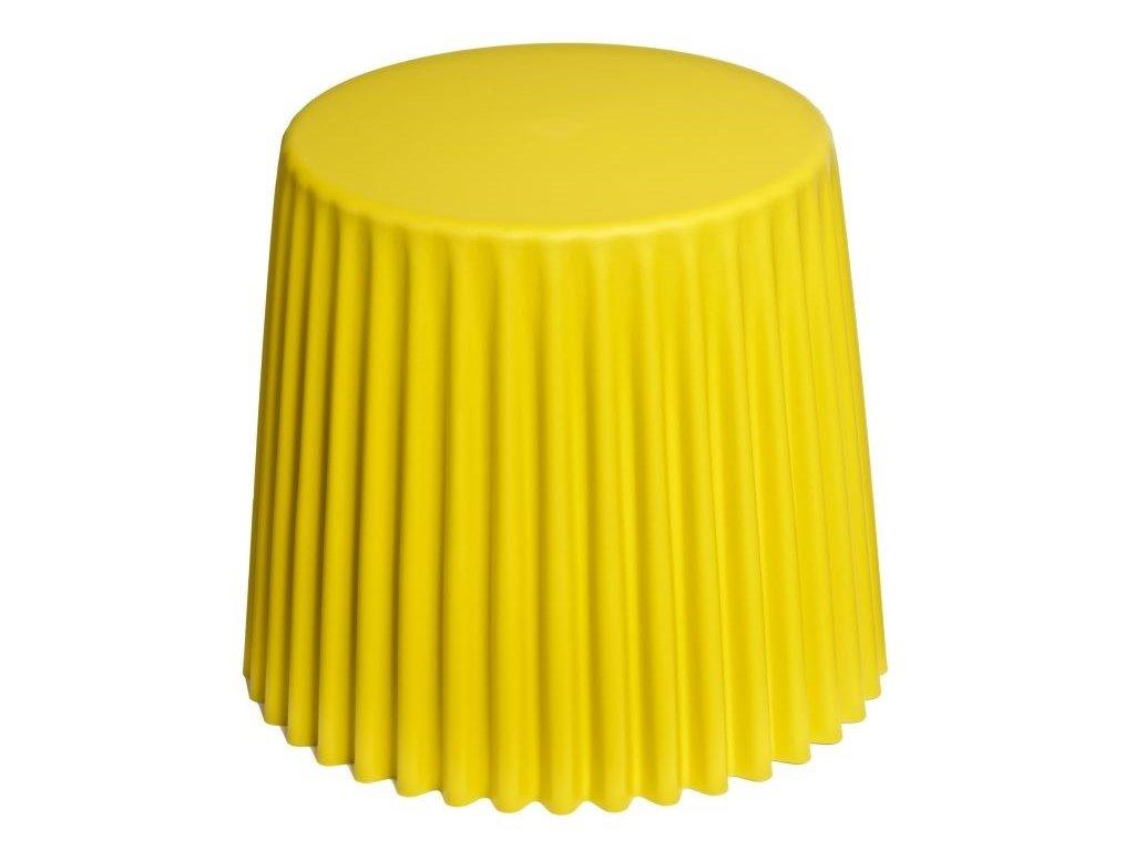 Žlutý plastový odkládací stolek Cork 38 cm