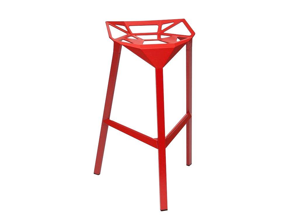 Červená kovová barová židle Stool