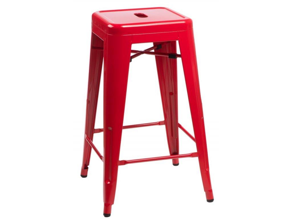 Designová barová židle Tolix 66 s červenou kovovou konstrukcí