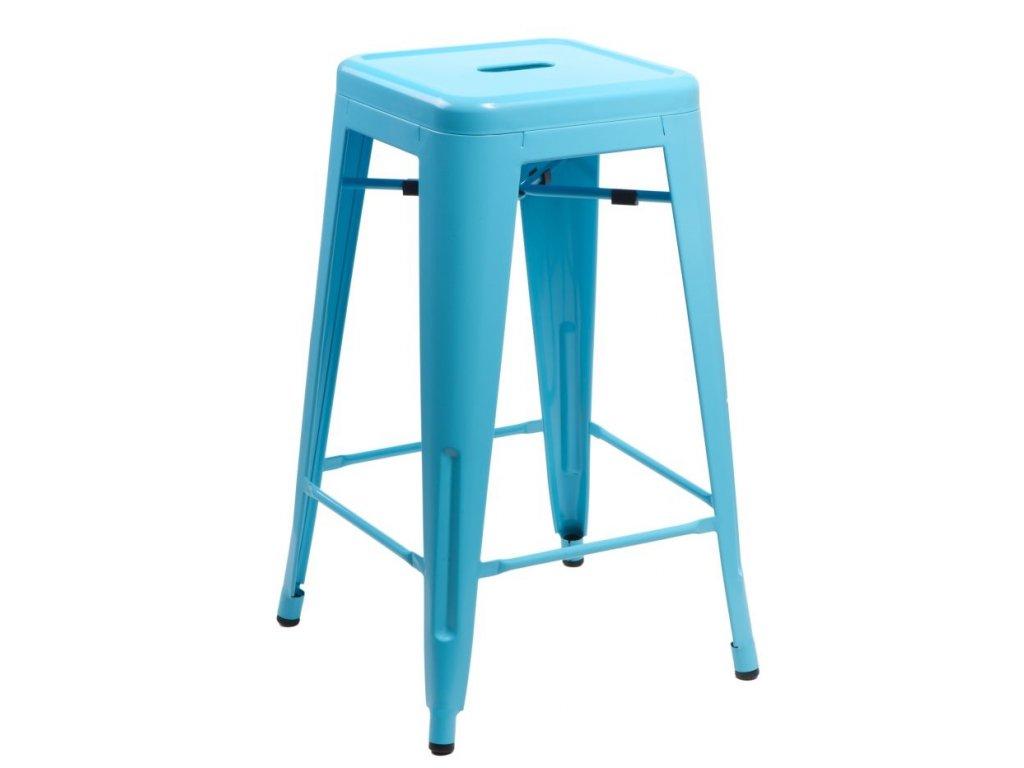 Designová modrá barová židle Tolix 66 s metalickou podnoží
