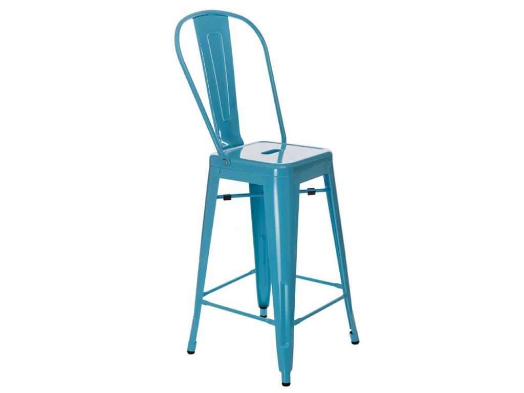 Modrá kovová barová židle Tolix 66 cm s opěrkou