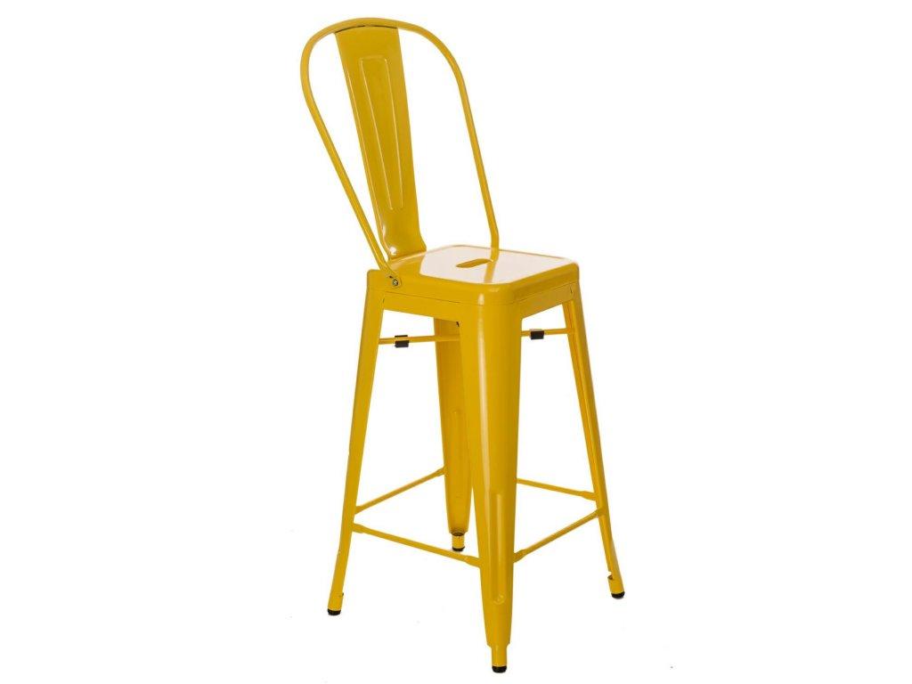 Designová žlutá barová židle Tolix z kvalitního kovu