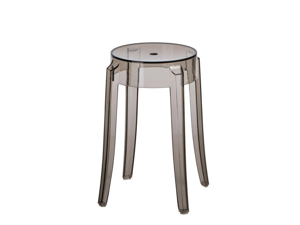 Kouřová transparentní plastová stolička Ghost 46 cm