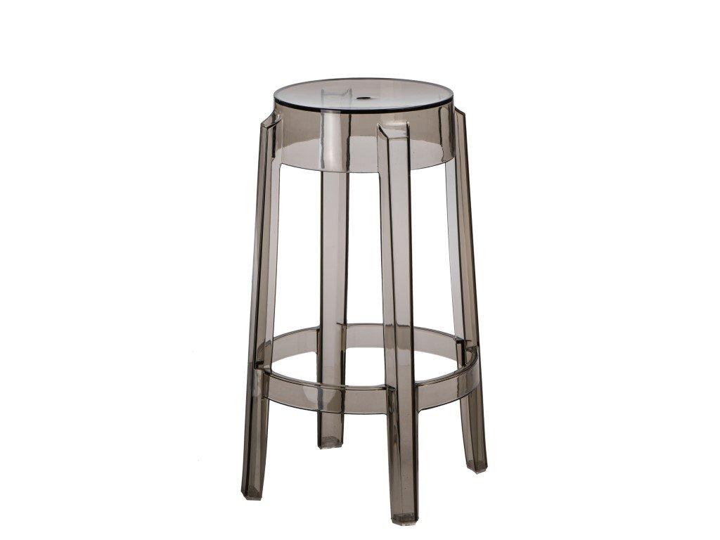 Designová transparentní kouřová barová židle Ghost 66 z plastu