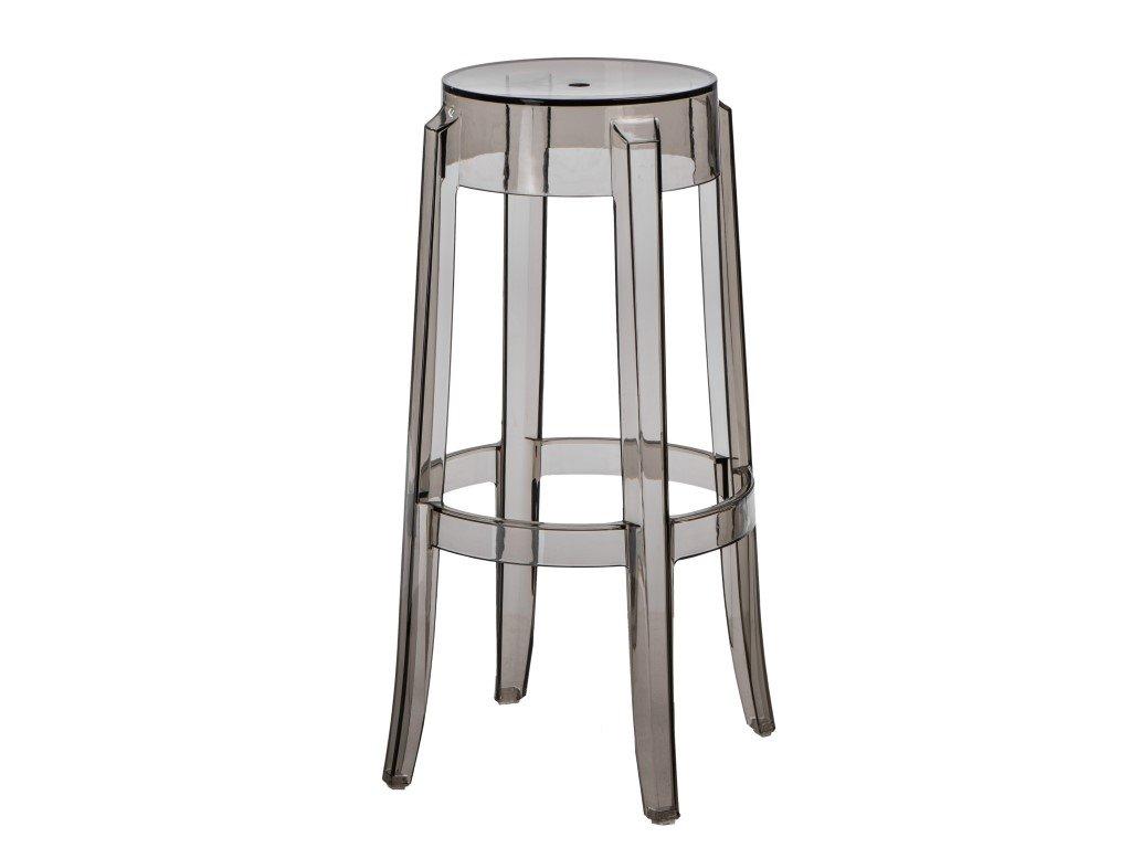 Kouřová transparentní plastová barová židle Ghost 75 cm