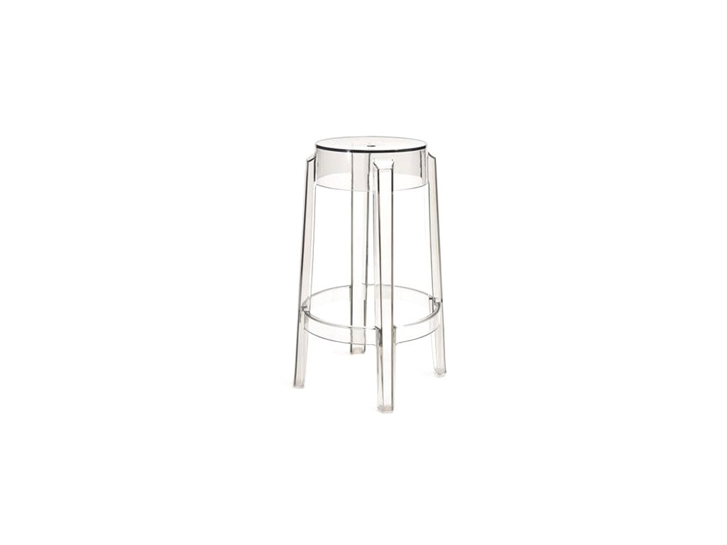 Transparentní designová barová židle Ghost 66 z plastu