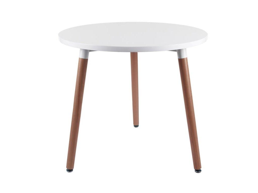 Bílý jídelní stůl Berg průměr 80 cm