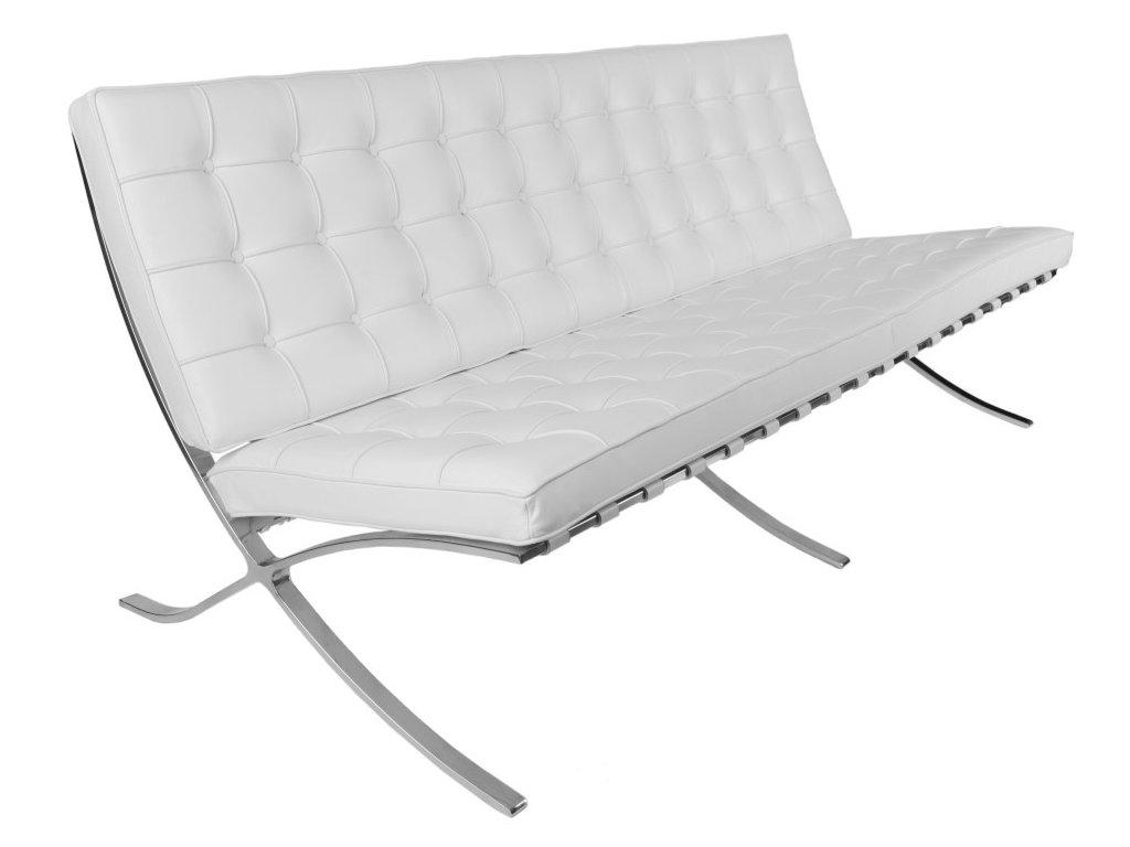 Bílá kožená třímístná pohovka Barcelona 180 cm