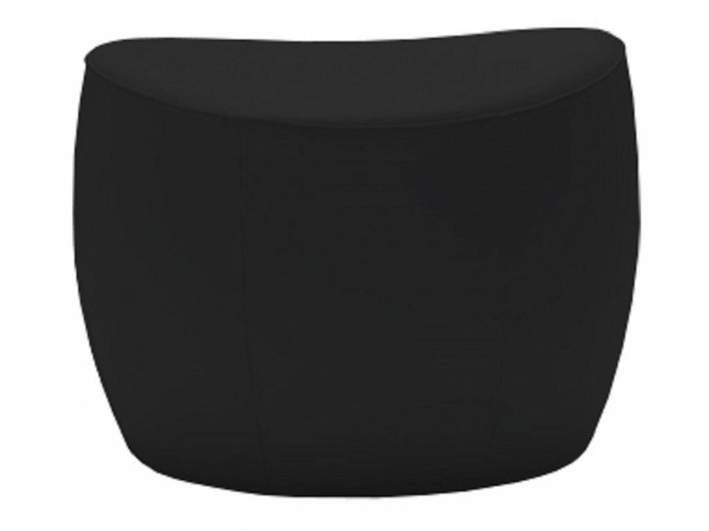 Černý koženkový taburet MARBET PUFA ONLY s béžovým prošitím