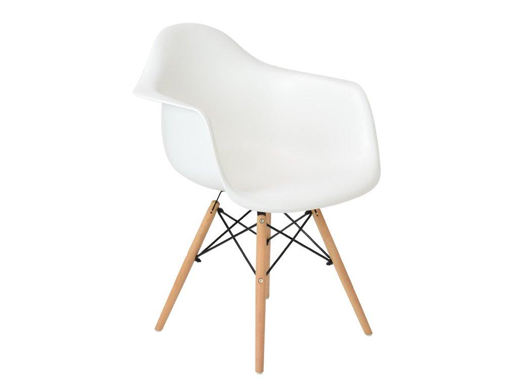 Bílá plastová jídelní židle DAW s přírodní bukovou podnoží