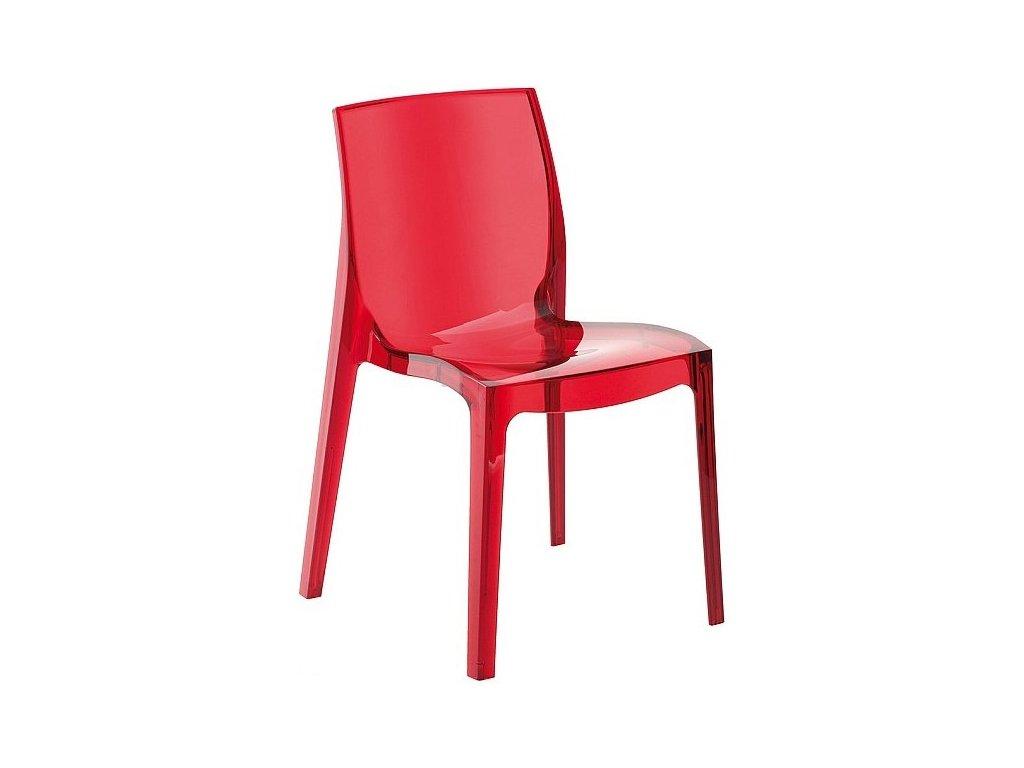 Červená transparentní plastová židle Simple Chair