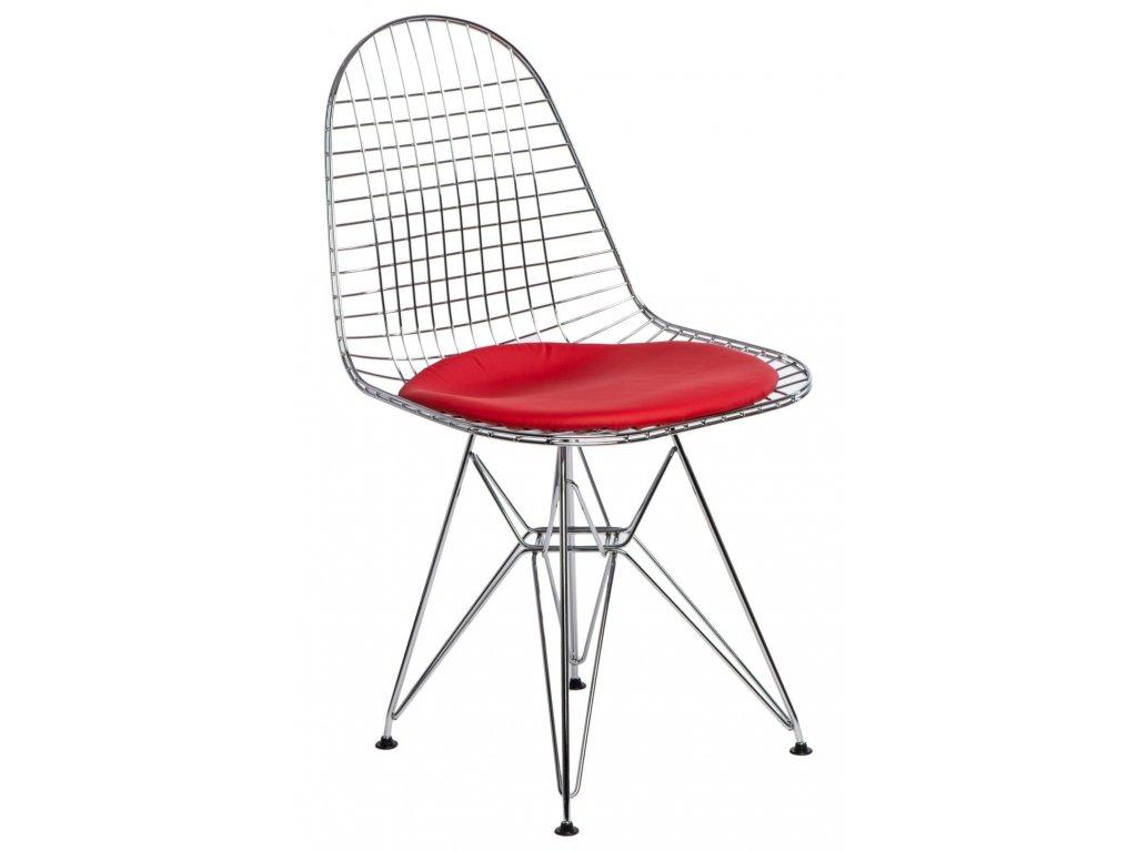 Designová červená kovová židle DKR