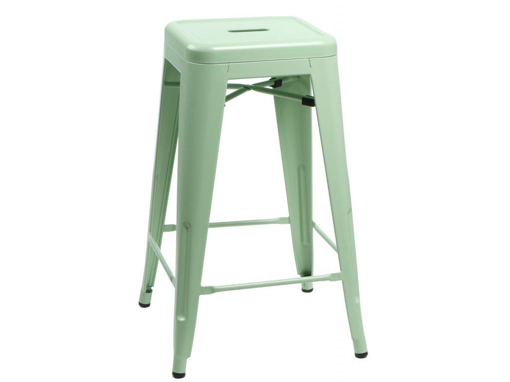 Designová zelená barová židle Tolix 75 s kovovou konstrukcí