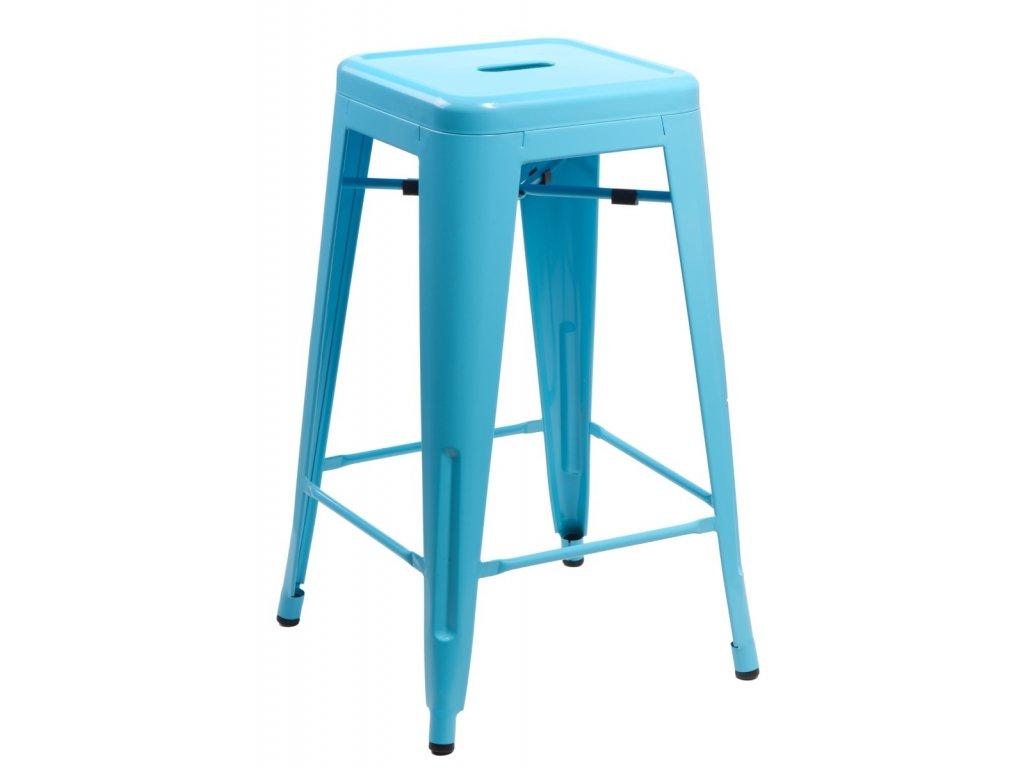 Stylová modrá barová židle Tolix 75 kovová