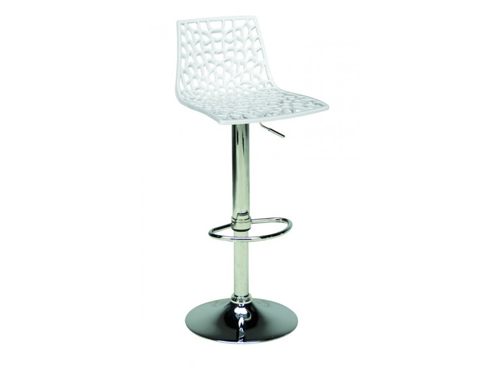 Bílá plastová barová židle Coral