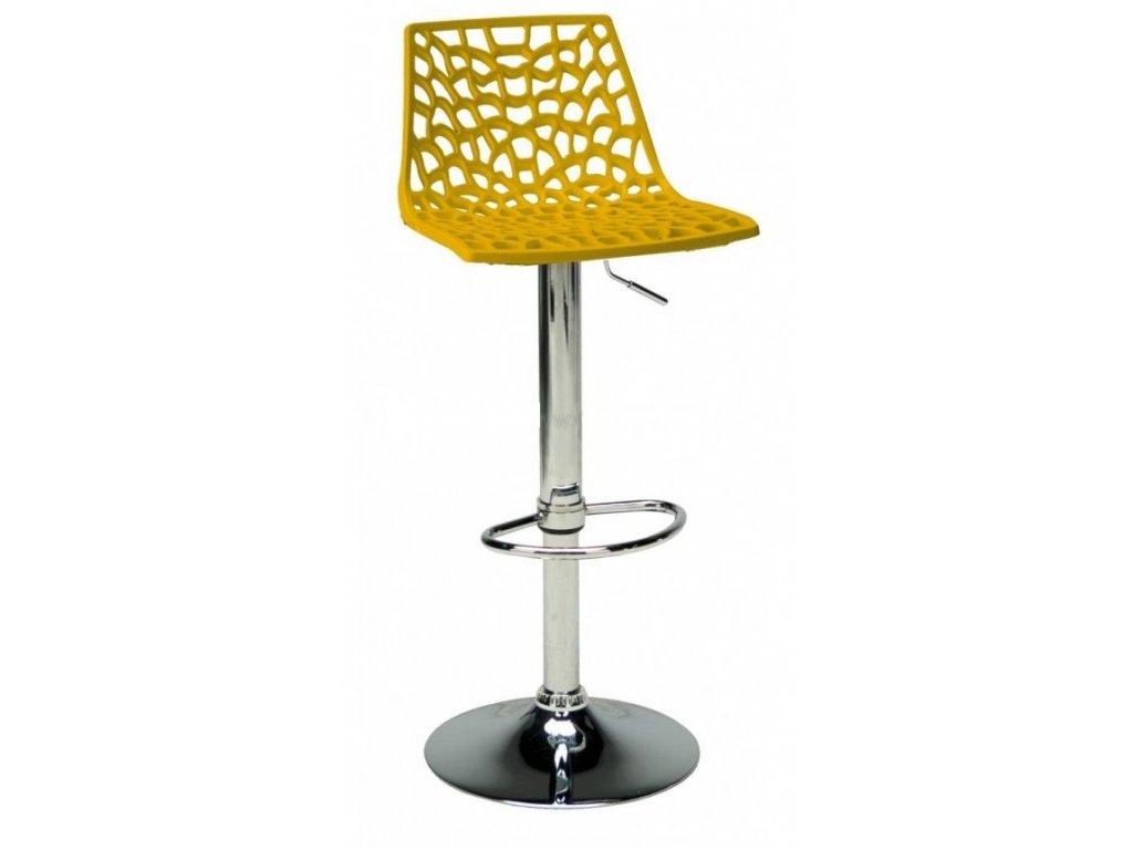 Žlutá plastová barová židle Coral