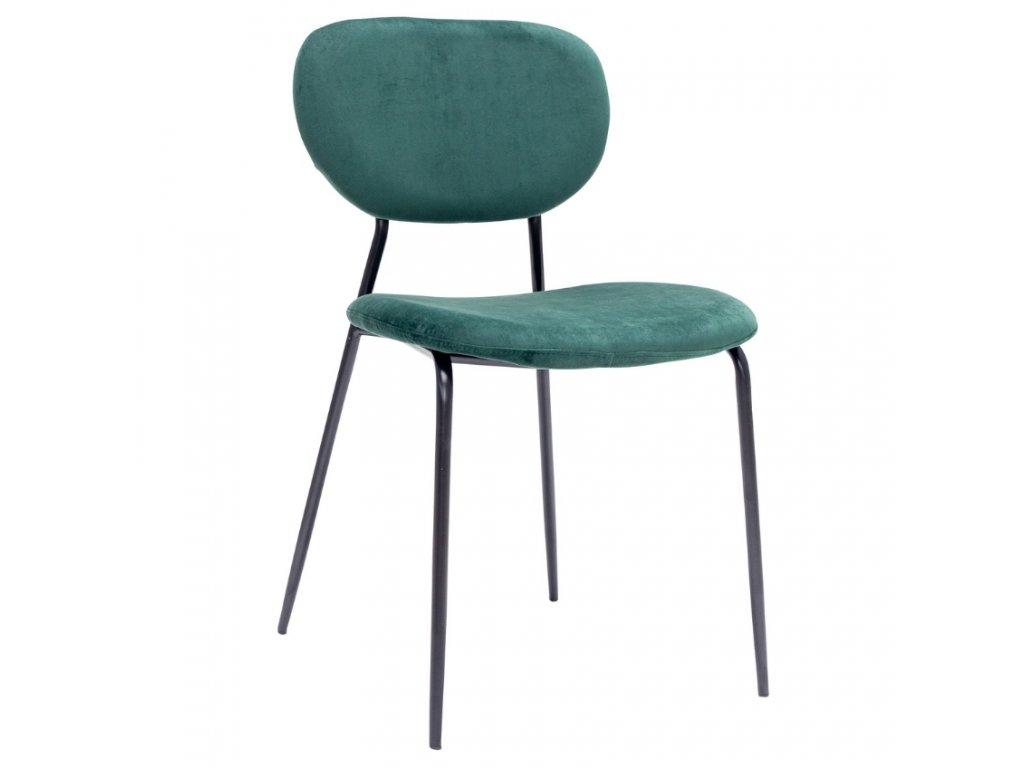 Zelená sametová jídelní židle Doris