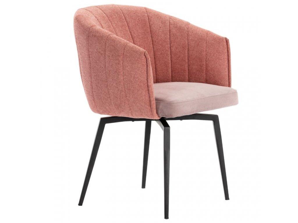 Lososově růžová látková jídelní židle Marckeric Carina