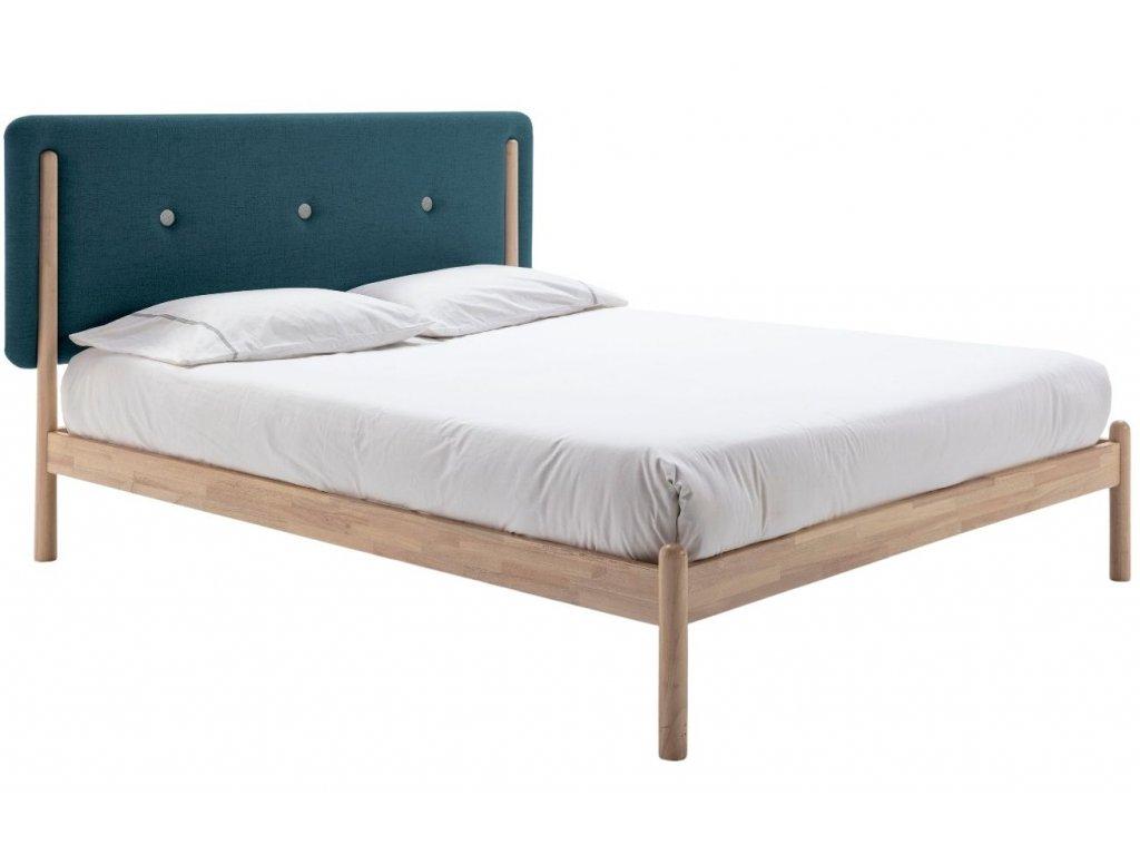 Dřevěná postel s tyrkysovým látkovým čelem Marckeric Annie 140 x 200 cm