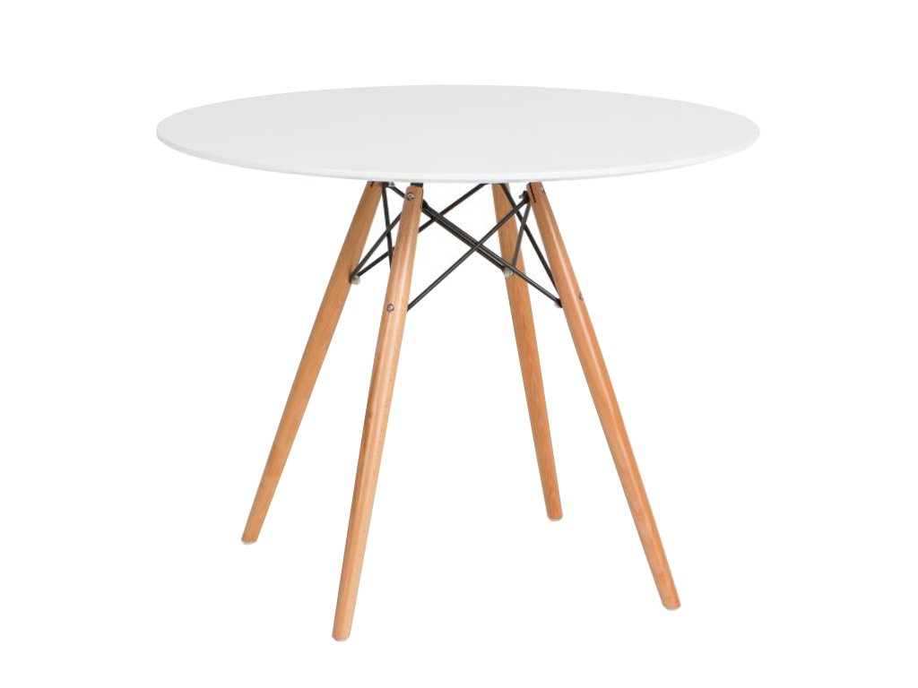 Bílý kulatý jídelní stůl DSW průměr 80 cm s dřevěnou podnoží