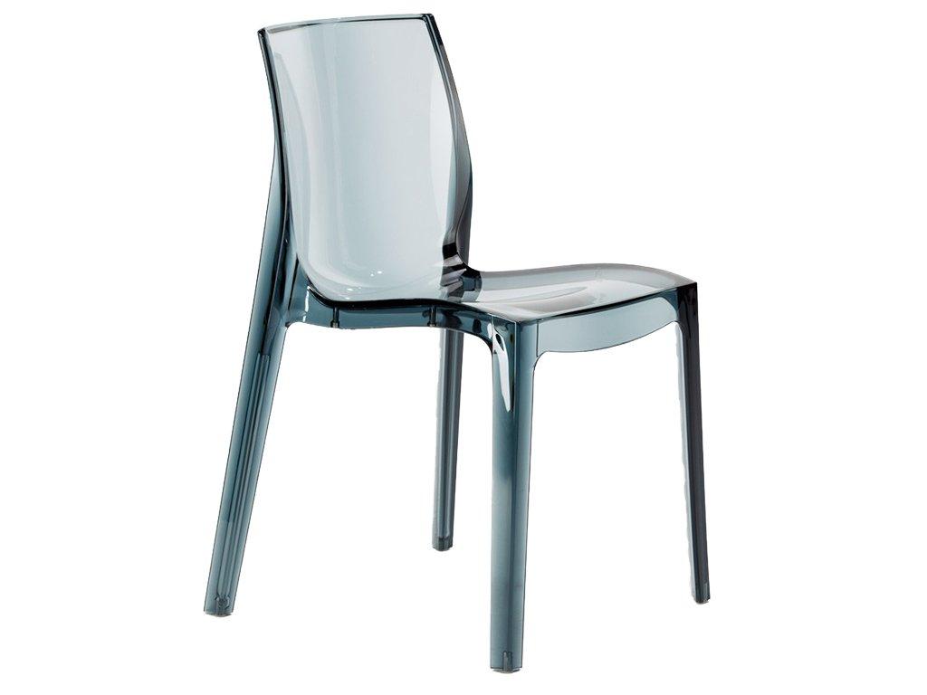 Kouřová transparentní plastová židle Simple Chair