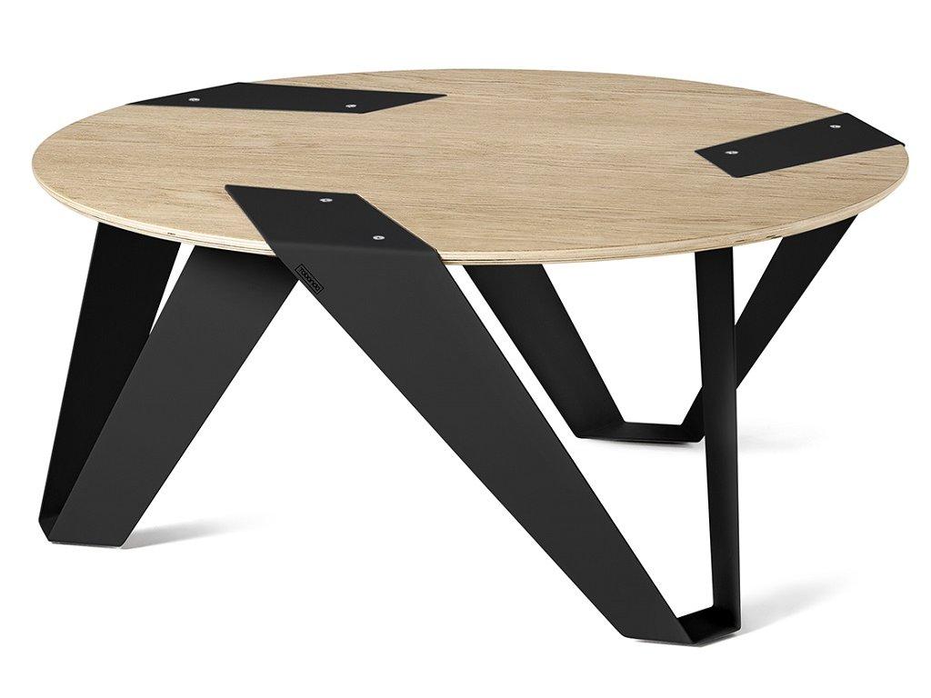 Dubový konferenční stolek Tabanda Mobiush 75 cm s černou podnoží